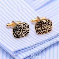 Men Cuff Links Wedding Party Gift Classical Grid Cufflinks Engraved Gold/Silver