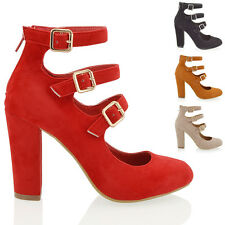 Womens Mary Jane Pumps Block Mid High Block Heel Ankle Strap Sandals Shoes Size