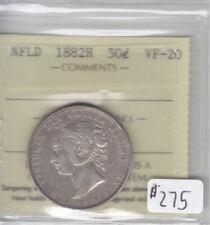 1882H NEWFOUNDLAND 50 CENT COIN ICCS CERT VF-20