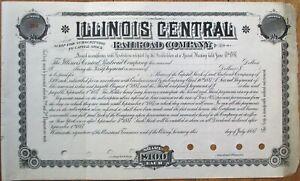 Illinois Central Railroad Co. 1887 Stock Certificate / Subscription Warrant - IL