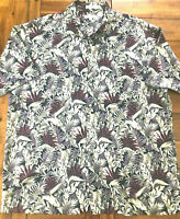Pierre Cardin Mens Size XL Green and Wine Floral Hawaiian Print Shirt