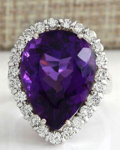 14.84 Carat Natural Amethyst 14K Solid White Gold Diamond Ring