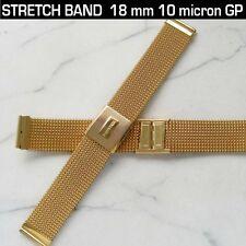 WATCH BRACELET MESH, STRETCH, 10 MICRON GOLD PLATED 18 MM LUG SIZE/150 MM LENGTH