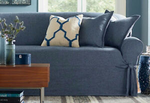 loveseat size textured linen indigo blue Slipcover sure fit  100% polyester