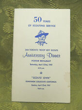 Toronto 26th Boy Scout Troop 1961 50th Anniversary Dinner Program with History