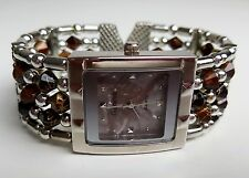 Geneva Beaded Cuff Watch Brown & Silver Needs Battery
