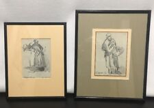 Pair of GERGELY PORGE Drawings Hungarian 1917 Study of Women Matted & Framed
