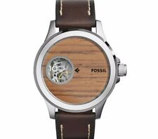 NIB Fossil Men's Automatic Nate Dark Brown Leather Strap Watch 46mm ME3113