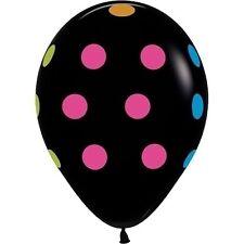 "50 NEON UV Black Polka Dots 11"" Glow Blacklight Reactive Party Latex Balloons"
