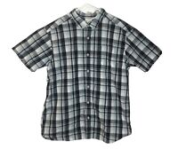 Columbia Regular Fit Button-Up Plaid Short Sleeve Shirt Mens Size XL Navy/White