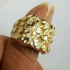 Big Men's 10k yellow Gold Nugget Ring S 10