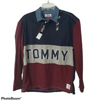 Tommy Hilfiger Denim Small Long Sleeve Polo Shirt Spell Out Mens color block NWT