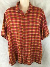 Marc Ecko Button Front Short Sleeve Shirt Double Needle Construction Size Large