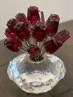 "Swarovski Crystal Figurine, Vase of Red Roses, 2002 SCS  (283394) 3"" No Box"