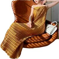 straight neck skinny spaghetti strap plisse pleated midaxi summer dress UK 8 |10