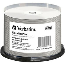 DVD+R DL 8.5GB 50Pk White Thermal Rimage Teac compable 8x Verbatim # 43754