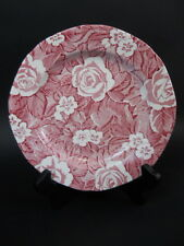 """Pr Vintage Burgess & Leigh Burleigh Victorian Chintz 9 5/8"""" Dinner Plate Pink"""