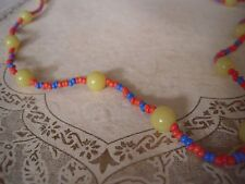 "SALE Vintage Necklace MULTI Yellow Plastic Glass Blue Orange Seed Bead 30"""