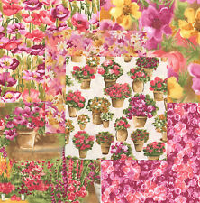 "Country Garden Pink 30 4"" fabric squares quilt 100% cotton quilting flowers"