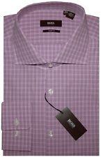 NEW HUGO BOSS FUSCHIA PLAID SLIM SHARP FIT DRESS SHIRT CUTAWAY COLLAR 17 32/33