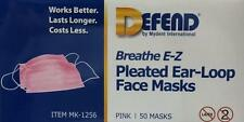 DEFEND BREATHE E-Z EAR LOOP PLEATED FACE MASKS 50/BX PINK
