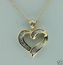 Gold Heart Pendant & 14k Chain 1/2 ct Genuine Diamond Solid 14k Yellow