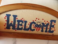 Cross Stitch Completed Red White Blue Flag Heart Framed WELCOME sign