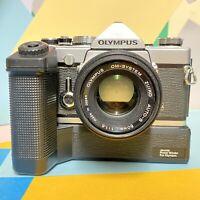 Olympus OM 1 MD 35mm SLR Film Camera & 50mm F1:8 zuiko Lens, Winder! Lomo! Retro