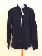 J CREW Slim Indigo Cotton Shirt in Windowpane Large Slim #c1297 Indigo $79.50