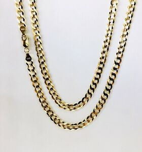 """Mens 14k Solid Yellow Gold Cuban Link Chain Necklace 24"""", 5.7mm 20 Grams"""