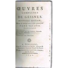Œuvres de GESSNER Daphnis Évandre et Alcimne Éraste Nuit Tableau Déluge 1792 T.2