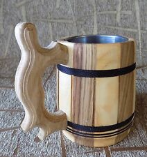 Wooden beer milk mug cup hand made natural wood also good for water 0.5 liter