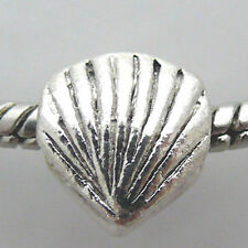 Metall Bead Muschel 10mm Sammelperle Metallperle silbern Metallbeads -450