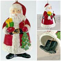 """Porcelain Dinner Bell Santa Holding Christmas Tree Black Boots as Ringer 4.5"""""""
