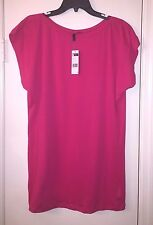 Benetton Dark Pink Short Sleeve Top NWT Sz M