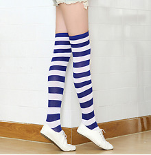 Nautical Blue White Striped Over the Knee Socks, 9-11 Patriotic, Rugby Stripe