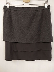 BRUNELLO CUCINELLI Designer Lagen Rock Gr.36 I42 USA6 100% Seide Grau Skirt