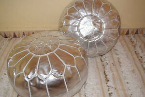 Matching Pair (2) of Stunning Moroccan Ottoman Pouffe Pouf Footstool In Silver