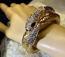 Gold Snake Mesh Crystals Wrap Around Bracelet