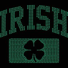 Twisted Envy Irish Shamrock Diamante Motif T Shirt Transfer Iron On Hotfix Gem