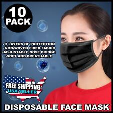 Black Protective 3 layer Face Mask Disposable 3 Ply Earloop Mouth Cover 10 pack