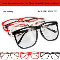 Big Lens Plain Glasses Tortoise Shell Oversized Geek Fashion Nerd Retro Clear t