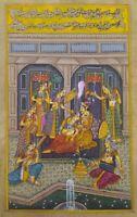 Harem Love Scene Indian Miniature Painting Old Paper Mughal Persian Calligraphy