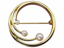 Monet Vintage Brooch Pin Faux Pearl Circle Gold Designer Jewelry 480g