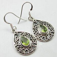 "BIRTHDAY GIFT Jewelry ! 925 Sterling Silver PERIDOT DANGLE Earrings 1.5"" NEW"