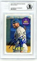 Jo Adell Angels Autographed 2018 Topps Heritage Minors Rookie Card #220 Beckett