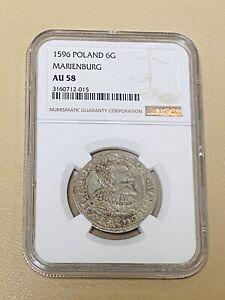1596 POLAND 🇵🇱 6-G Groschen Groszy Sigismund III Medieval Silver Coin AU 58