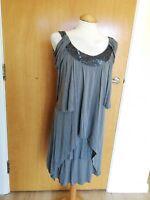 Ladies WAREHOUSE Dress Size 10 Draped Deco Smart Party Evening Grey Beaded