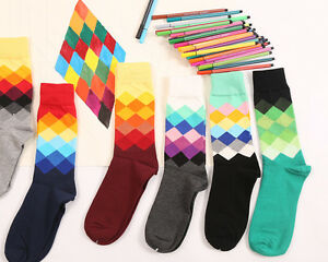 6 Pairs New Mens Socks Cotton Warm Colorful diamond Casual Dress long Socks