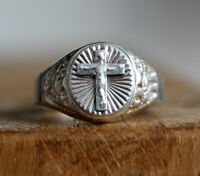 Crucified Jesus Christ 925 Sterling Silver Italy Authentic Signed Men's Ring